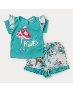 Conjunto Curto Bebê Menina Blusa Verde Flamingo e Short Estampado