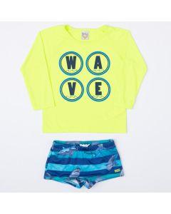 Conjunto com Proteção UV para Menino Blusa Verde e Sunga Azul Estampada