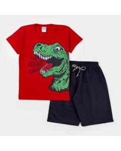 Conjunto de Roupa Infantil Masculina Blusa Vermelha Dinossauro e Short Cinza