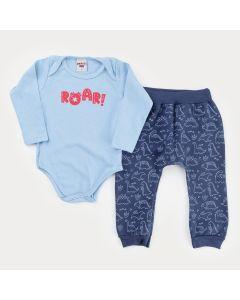 Conjunto de Frio para Menino Body Azul Dinossauro e Calça Marinho