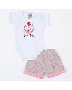 Conjunto de Verão Bebê Menina Body Branco Cupcake e Short Cinza