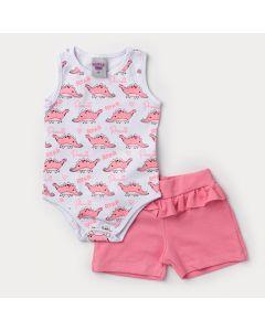 Conjunto de Verão Bebê Menina Body Regata Branco Dinossauro e Short Rosa