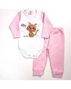 Conjunto com Body Branco Gatinho e Calça Rosa Bebê Feminino