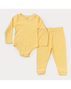 Conjunto de Roupa para Bebê Body e Calça Amarelo em Ribana