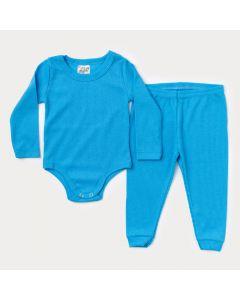 Conjunto de Roupa para Bebê Menino Body Manga Longa e Calça Azul