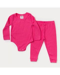 Conjunto de Roupa para Bebê Menina Body Manga Longa e Calça Rosa
