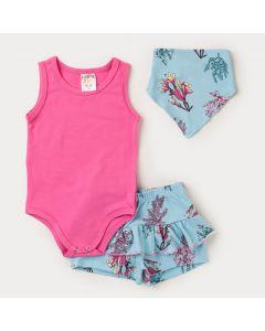 Conjunto Bebê Menina Body Rosa com Babador e Short Azul Estampado