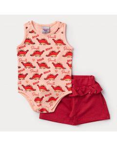 Conjunto de Verão Bebê Menina Body Regata Salmão Dinossauro e Short Vermelho
