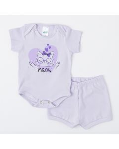 Conjunto de Verão Body e Short Lilas Gatinho para Bebê Menina