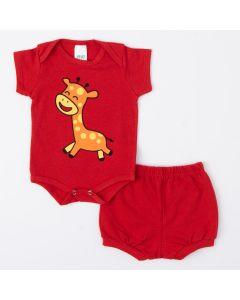 Conjunto de Bebê Unissex Vermelho Body Girafa e Short Básico