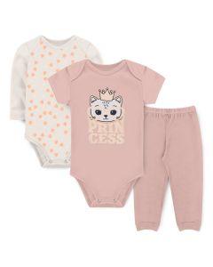 Kit Body 3 Peças Bebê Menina Bodies Marfim e Salmão Coração e Calça Salmão