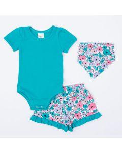Conjunto de Verão Bebê Menina body Verde Short Florido e Babador