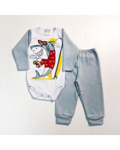 Conjunto com Calça Azul Claro e Body de Tubarão para Bebê Menino