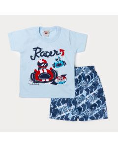 Conjunto Infantil Masculino Bermuda Tactel Estampada e Camiseta Azul Claro