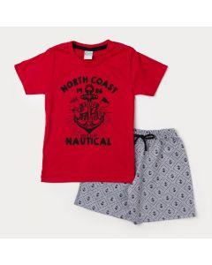 Conjunto Camiseta Infantil Vermelha Âncora e Bermuda Masculina Cinza