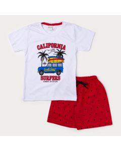 Conjunto de Verão Camiseta Masculina Branca Califórnia e Bermuda Infantil Vermelha