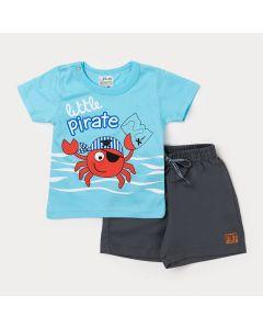 Conjunto Camiseta para Bebê Menino Azul com Estampa de Siri e Bermuda Cinza