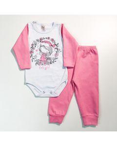 Conjunto com Body de Bebê com Estampa de Menina e Calça Rosa