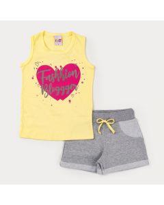 Conjunto com Regata Amarela Coração e Short Cinza para Menina