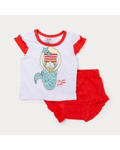 Conjunto com Short Vermelho para Bebê Menina e Blusa Branca Estampa com Glitter