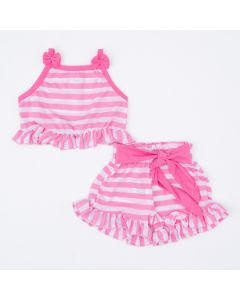 Conjunto Blusa Cropped e Short Listrado Rosa para Menina