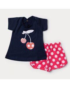 Conjunto curto Bebê Menina Blusa Marinho Cereja e Short Pink com Bolinhas