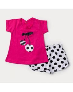 Conjunto Curto Bebê Menina Blusa Pink Cereja e short Branco com Bolinhas