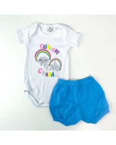 Conjunto de Verão Bebê Menina Body Branco Arco-Íris e Short Azul