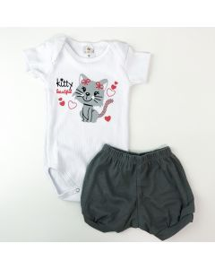 Conjunto Curto Bebê Menina Body Branco Gatinho e Short Cinza