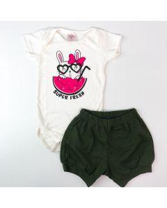 Conjunto Curto Bebê Menina Body Marfim Melancia e Short Verde Militar