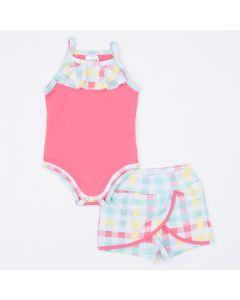 Conjunto de Verão Bebê Menina Body Alcinha Rosa e Short Saia Xadrez
