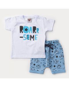 Conjunto Curto Bebê Menino Blusa Branca Estampada e Bermuda Azul Tigre