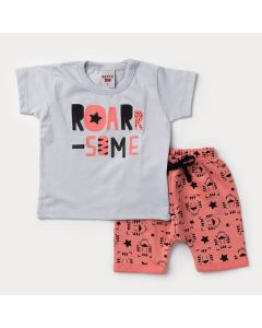 Conjunto Curto Bebê Menino Blusa Cinza Estampada e Bermuda Laranja Tigre