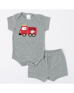 Conjunto de Verão Cinza para Bebê Menino Body Bombeiro e Short