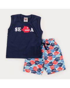 Conjunto Verão Bebê Menino Regata Marinho Peixe e Bermuda Estampada
