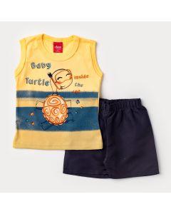 Conjunto de Verão Bebê Menino Regata Amarela Tartaruga e Short Cinza