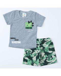 Conjunto Dinossauro para Bebê Menino Blusa Cinza e Short Verde