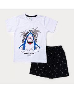 Conjunto Curto Camiseta Infantil Branca Tubarão e Bermuda Masculina Preta
