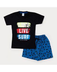 Conjunto Curto Camiseta Masculina Preta Surf e Bermuda Infantil Azul