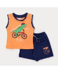 Conjunto Curto de Bebê Menino Regata Laranja Estampada e Short Marinho