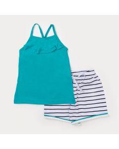Conjunto Curto Infantil Feminino Blusa de Alcinha Verde e Short Listrado