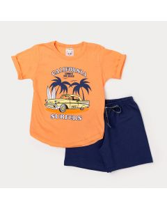 Conjunto Curto Infantil Masculino Camiseta Laranja Surf e Bermuda Marinho