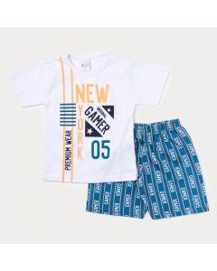 Conjunto de Verão Infantil Masculino Blusa Branca Game e Bermuda Azul Estampada