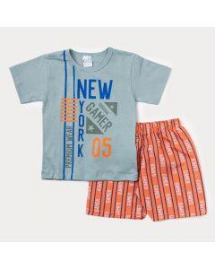 Conjunto de Verão Infantil Masculino Blusa Cinza Game e Bermuda Laranja Estampada