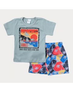 Conjunto Curto Infantil Masculino Blusa Cinza Hawaii e Bermuda Estampada