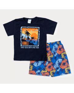 Conjunto Curto Infantil Masculino Blusa Marinho Hawaii e Bermuda Estampada