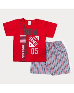 Conjunto de Verão Infantil Masculino Blusa Vermelha Game e Bermuda Cinza Estampada