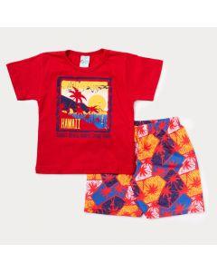 Conjunto Curto Infantil Masculino Blusa Vermelha Hawaii e Bermuda Estampada
