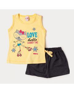 Conjunto de Verão Blusa Amarela Guaxinim e Short Preto para Menina
