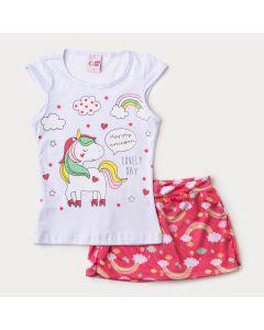Conjunto Curto para Menina Blusa Branca Unicórnio e Short Saia Rosa Arco-Íris